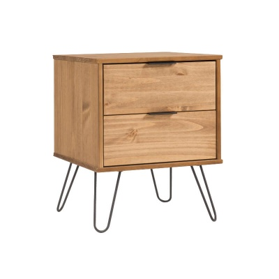 Augusta 2 Drawer Contemporary Pine Bedside Cabinet with Metal Legs